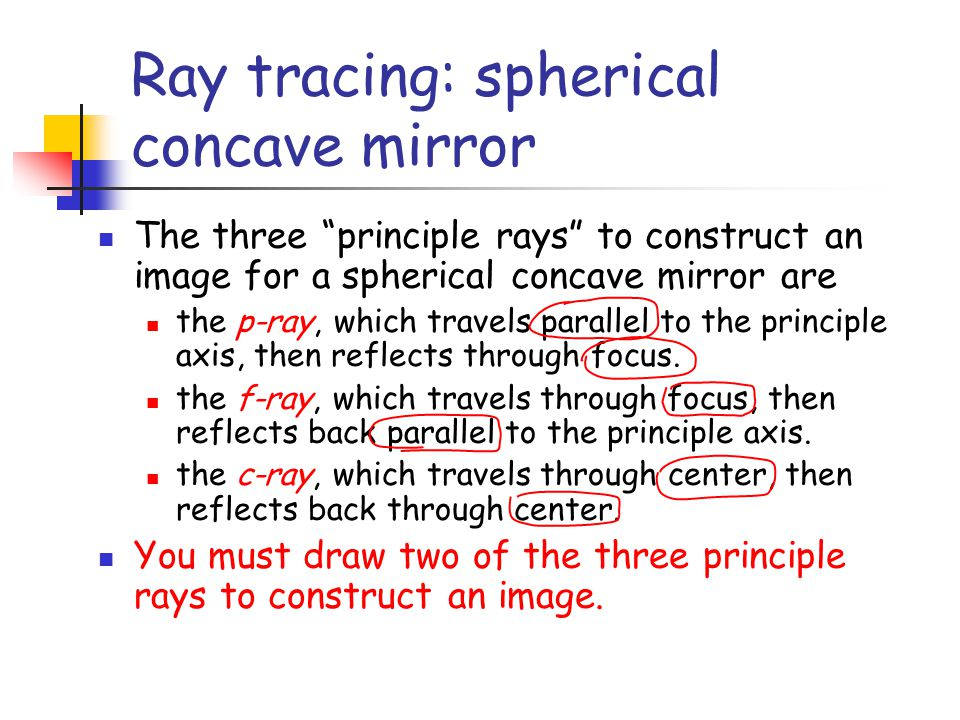 Ray tracing: spherical concave mirror