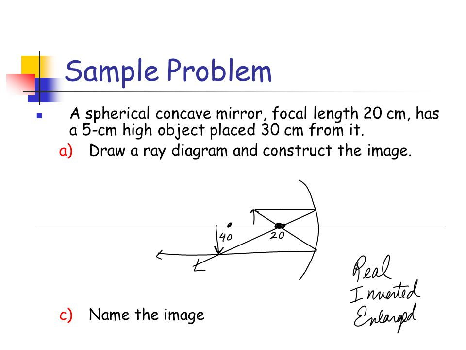 Sample Problem A spherical concave mirror, focal length 20 cm, has a 5-cm high object placed 30 cm from it.
