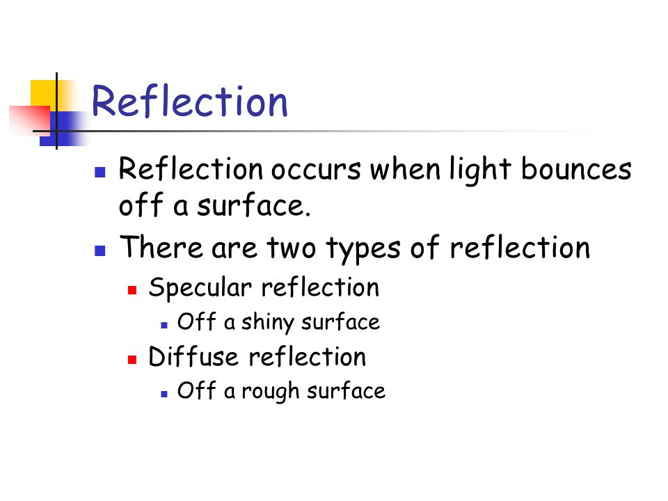 Reflection Reflection occurs when light bounces off a surface.
