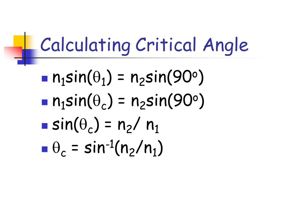 Calculating Critical Angle