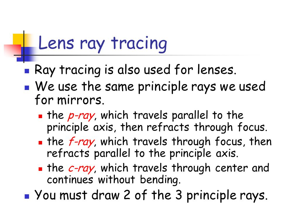 Lens ray tracing Ray tracing is also used for lenses.