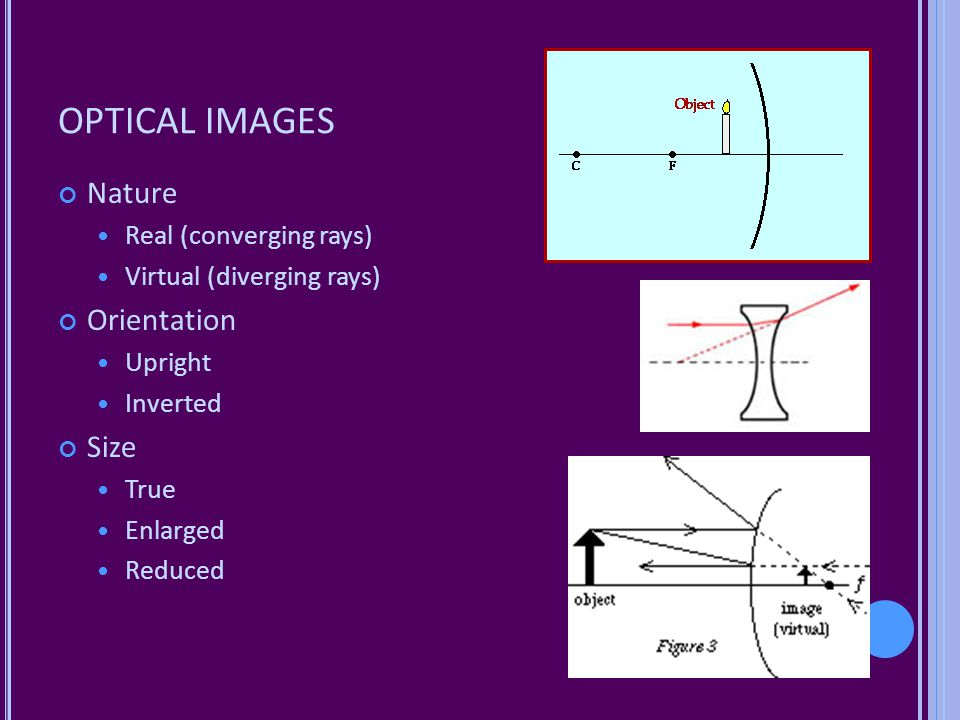 OPTICAL IMAGES Nature Orientation Size Real (converging rays)