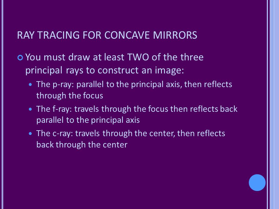 RAY TRACING FOR CONCAVE MIRRORS