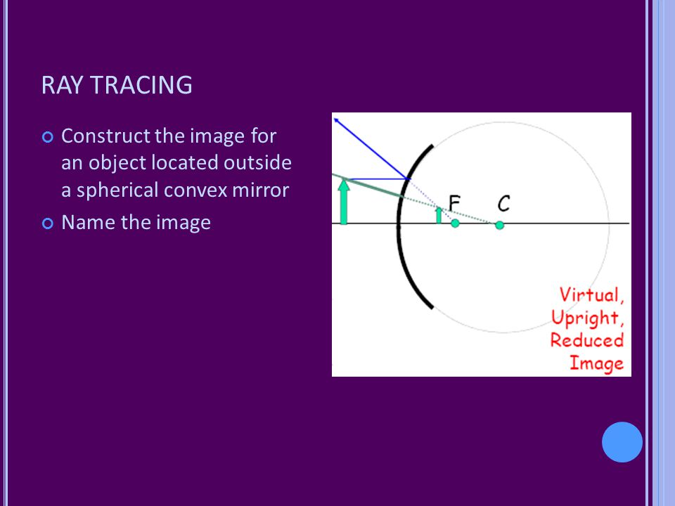 RAY TRACING Construct the image for an object located outside a spherical convex mirror.