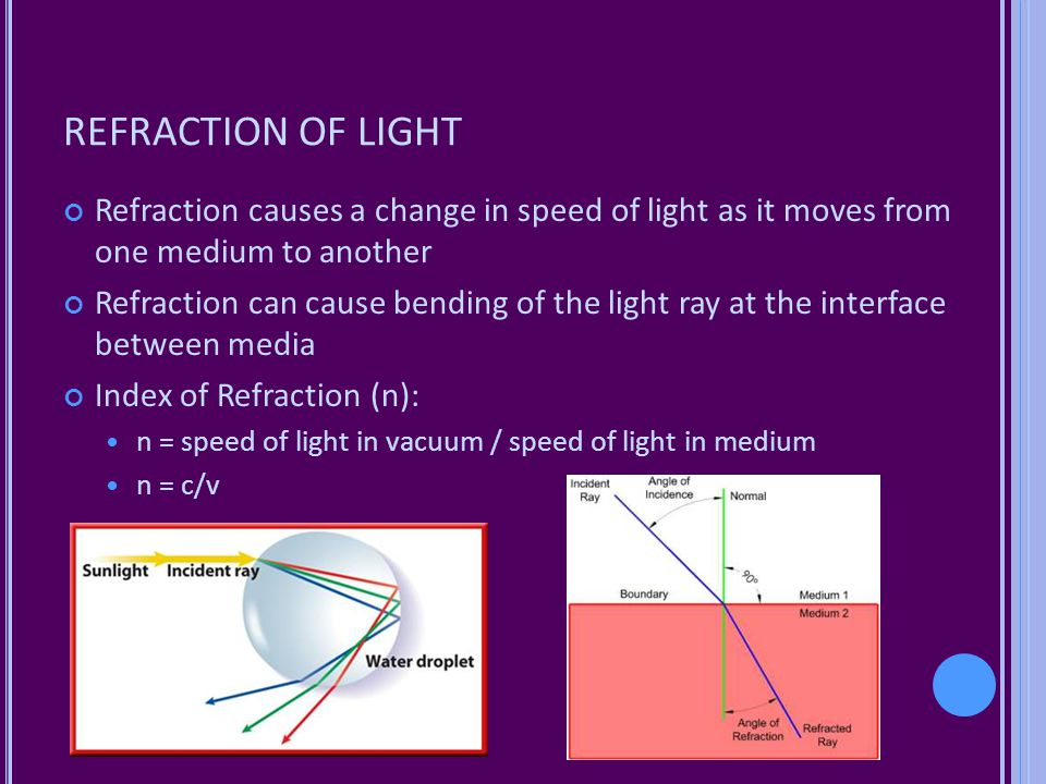 REFRACTION OF LIGHT Refraction causes a change in speed of light as it moves from one medium to another.
