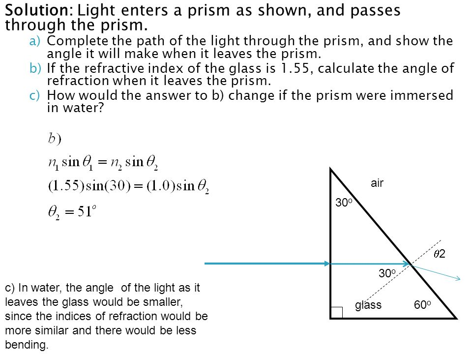 Solution: Light enters a prism as shown, and passes through the prism.