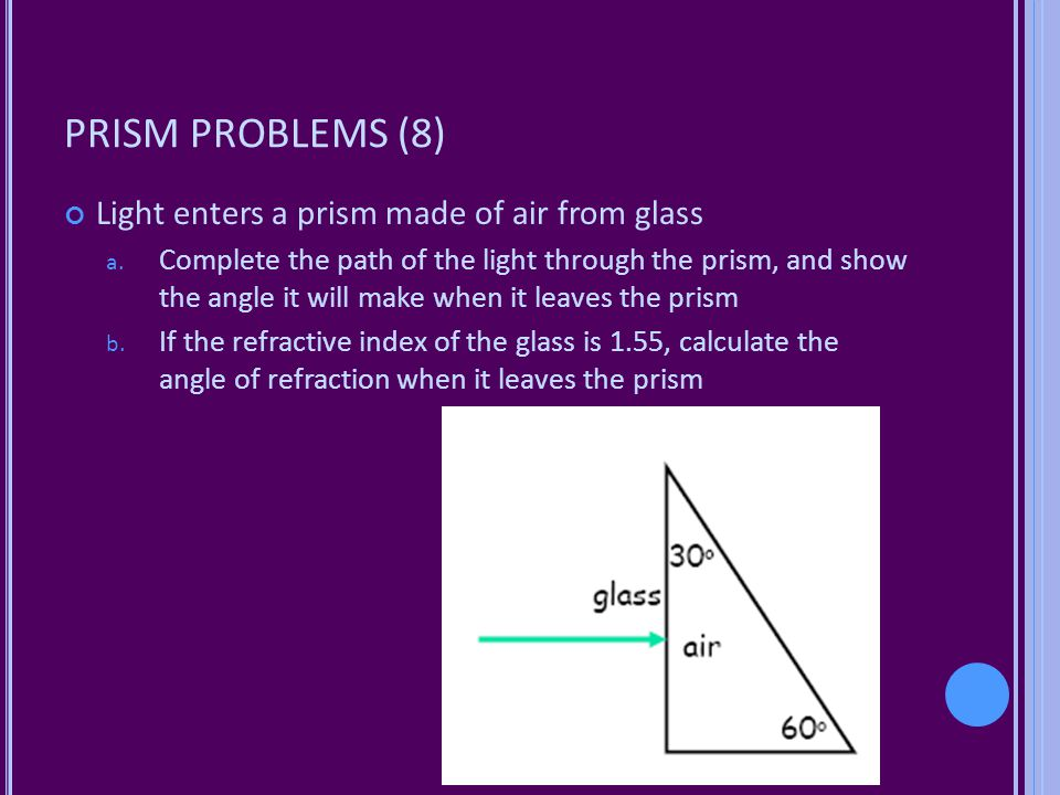 PRISM PROBLEMS (8) Light enters a prism made of air from glass