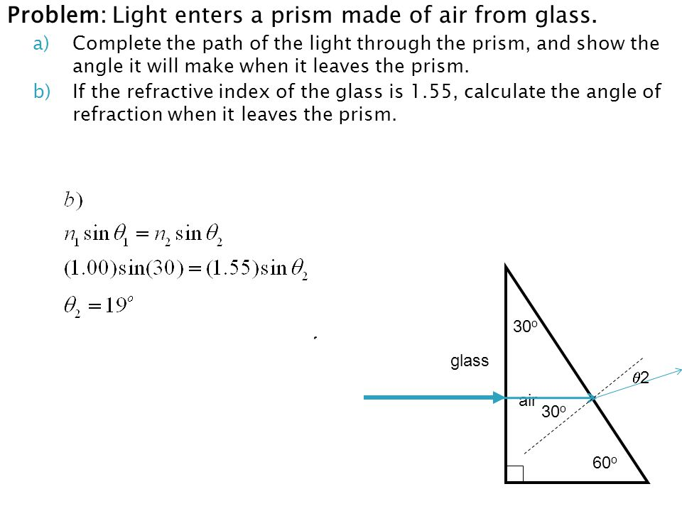 Problem: Light enters a prism made of air from glass.