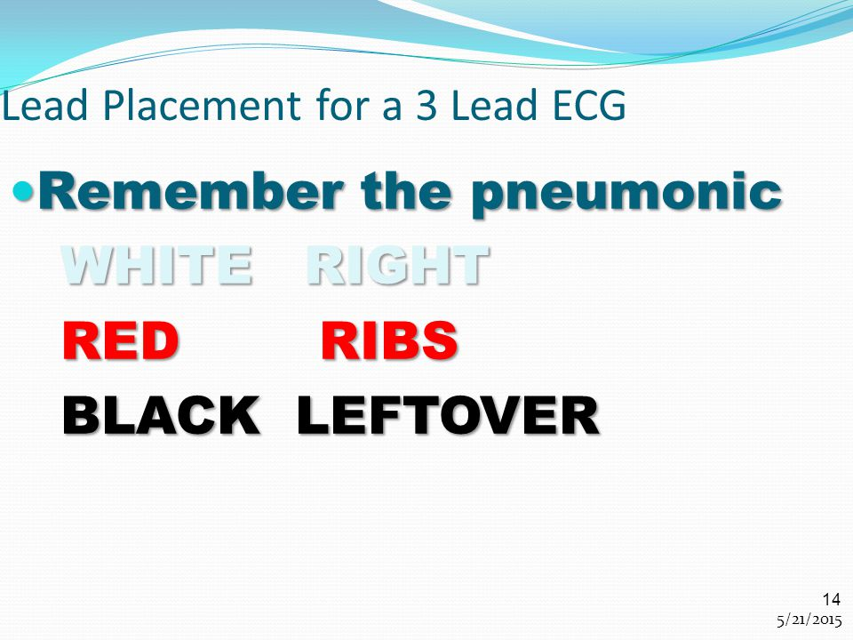 Lead Placement for a 3 Lead ECG