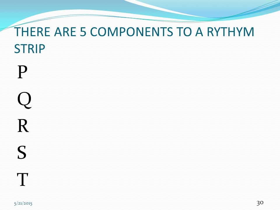 THERE ARE 5 COMPONENTS TO A RYTHYM STRIP
