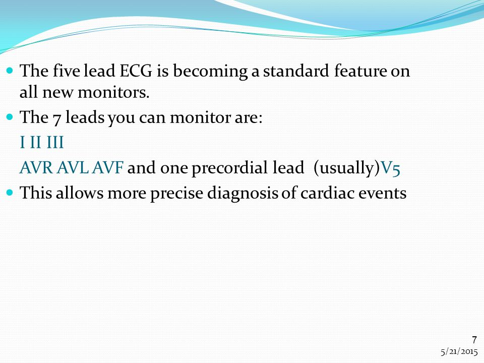 The five lead ECG is becoming a standard feature on all new monitors.