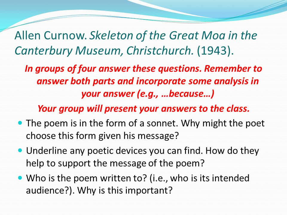 essay on continuum by allen curnow Read this essay on understanding the continuum of care  continuum the poem 'continuum' by allen curnow revolves around the central theme of poetic.