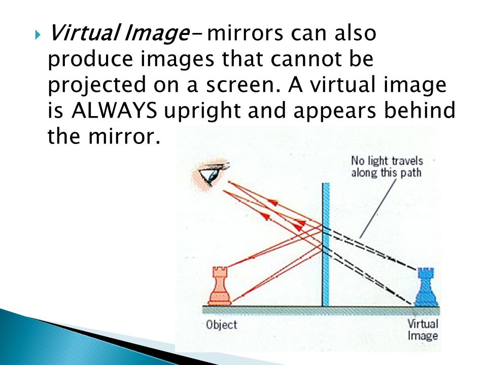 Virtual Image- mirrors can also produce images that cannot be projected on a screen.