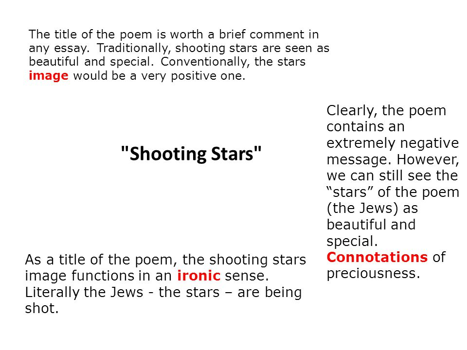 shooting stars by carol ann duffy ppt video online the title of the poem is worth a brief comment in any essay