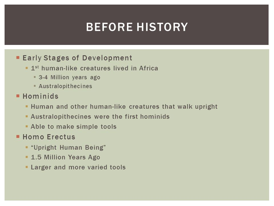 Before history Early Stages of Development Hominids Homo Erectus