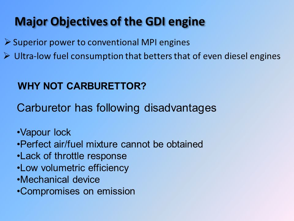 Major Objectives of the GDI engine