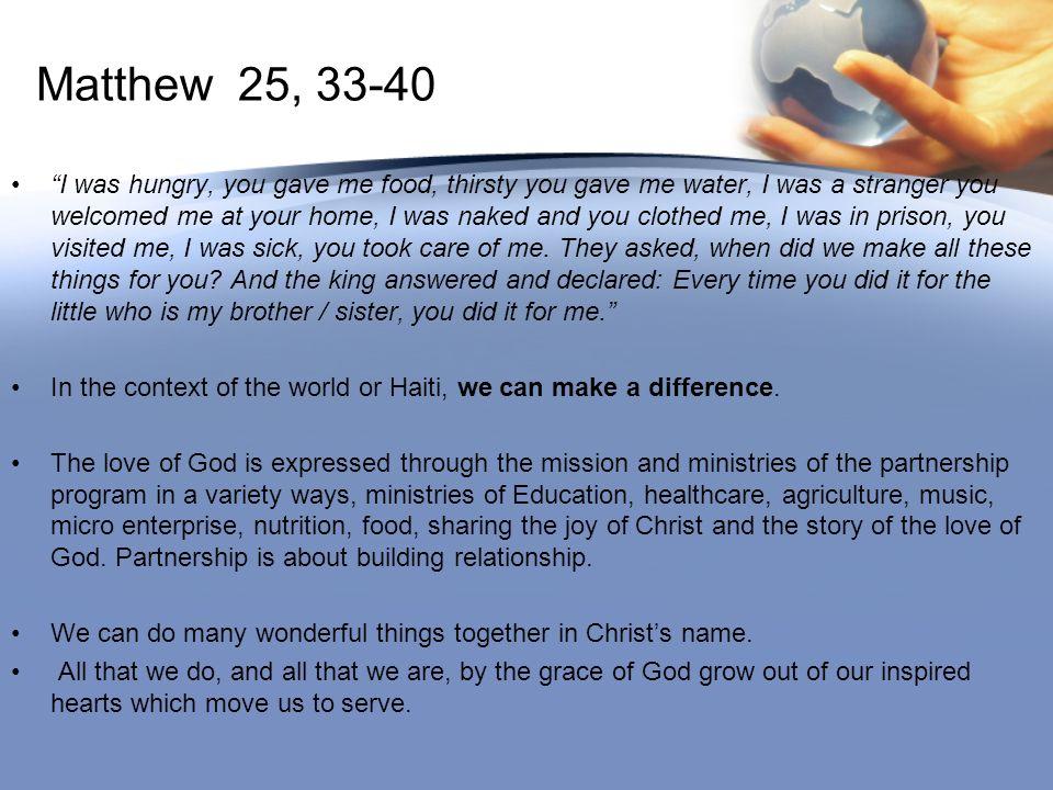 Matthew 25, 33-40