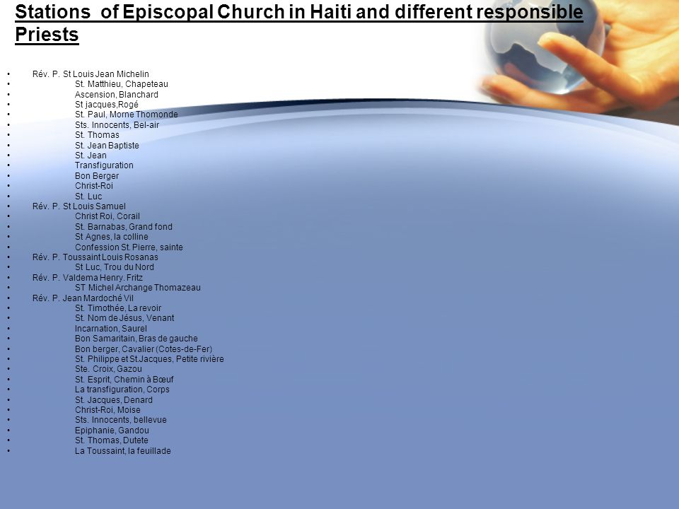 Stations of Episcopal Church in Haiti and different responsible Priests