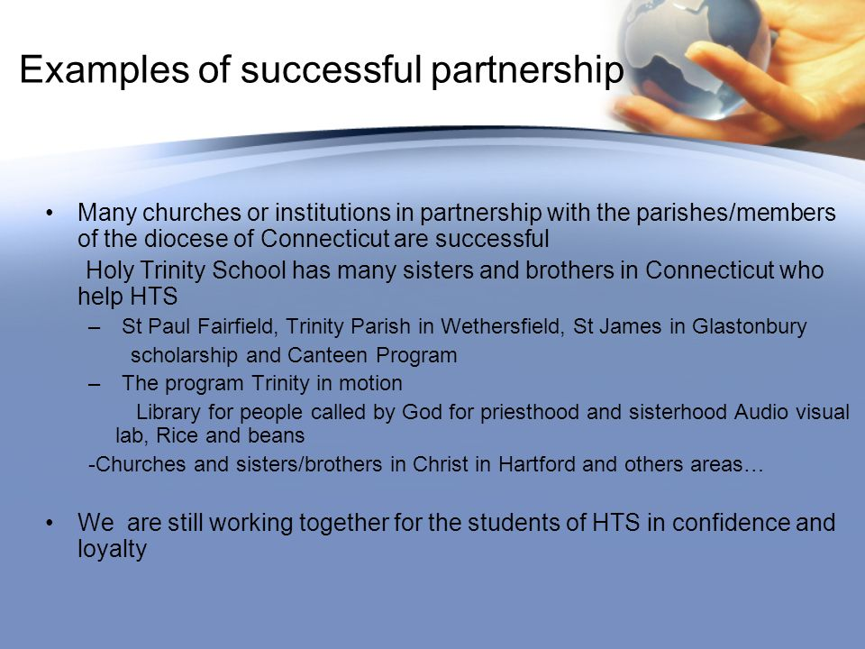 Examples of successful partnership