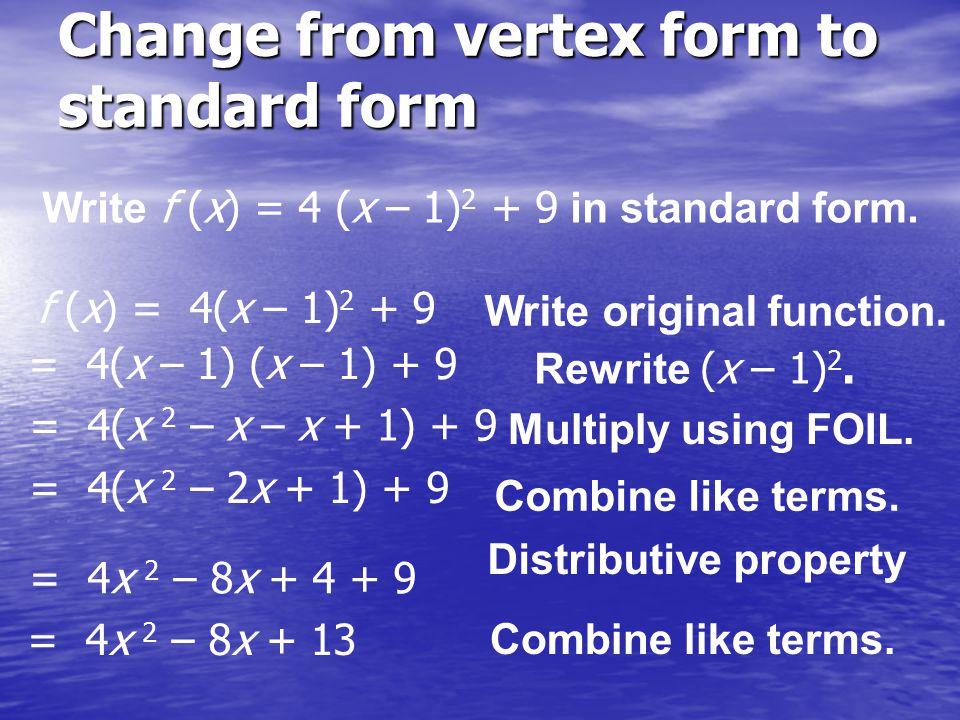standard to vertex form pdf