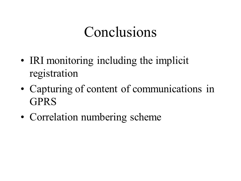 Conclusions IRI monitoring including the implicit registration