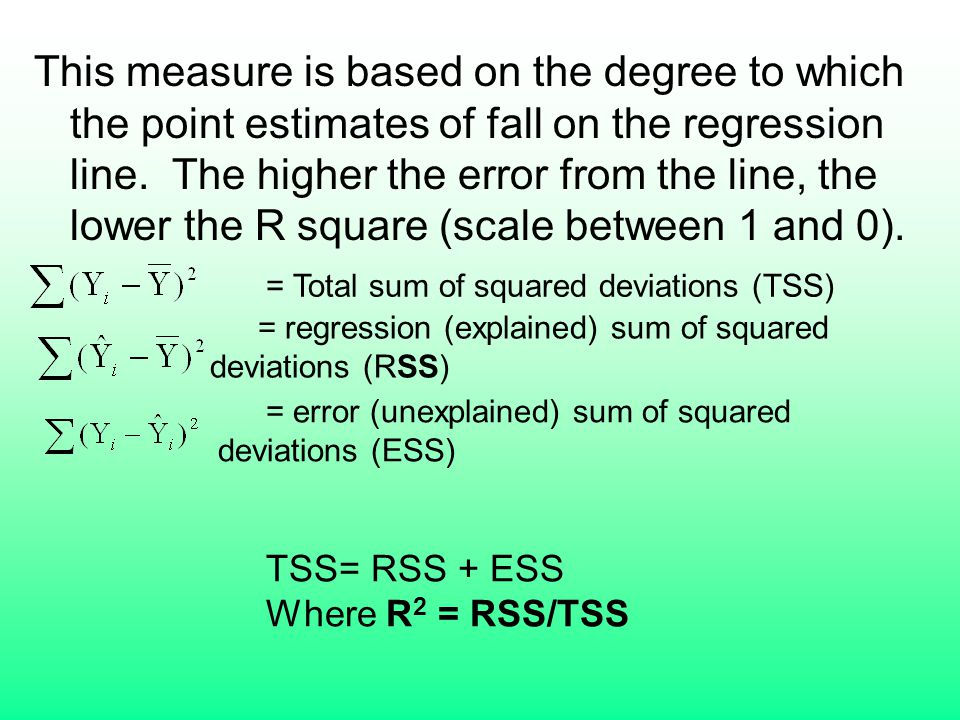 This measure is based on the degree to which the point estimates of fall on the regression line. The higher the error from the line, the lower the R square (scale between 1 and 0).