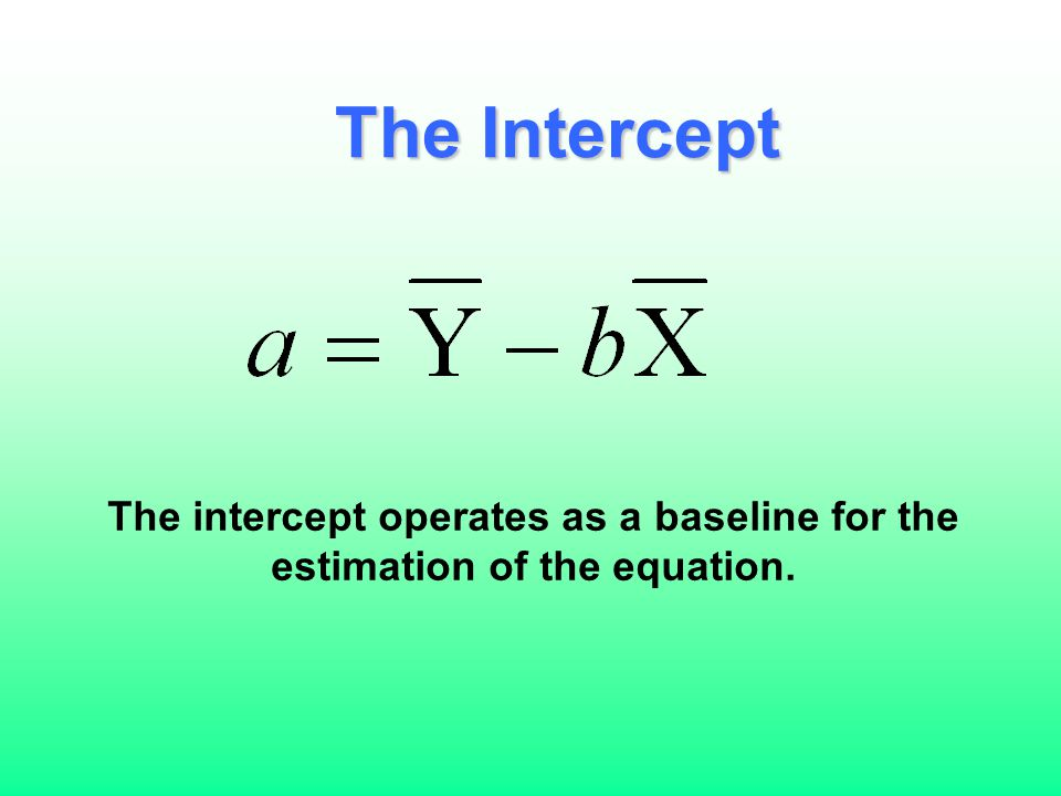 The Intercept The intercept operates as a baseline for the estimation of the equation.