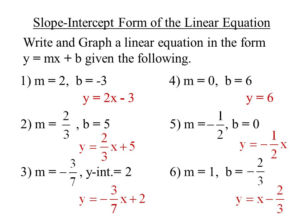 how to solve slope intercept form step by step