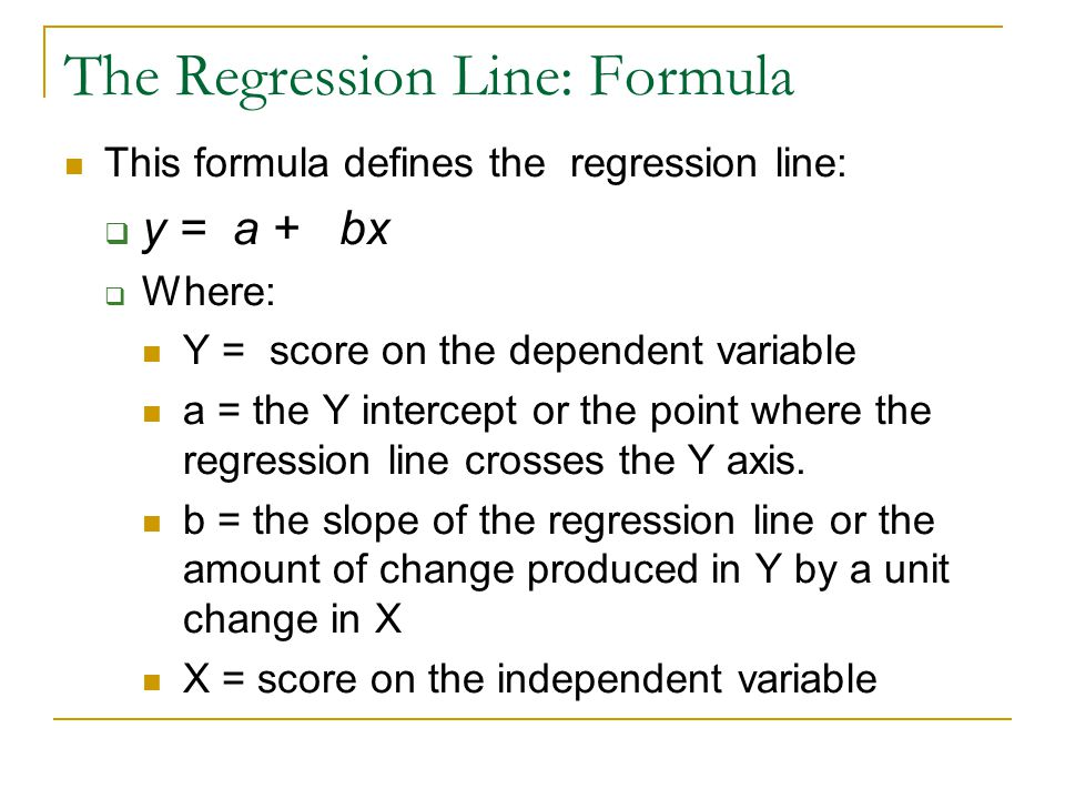 The Regression Line: Formula
