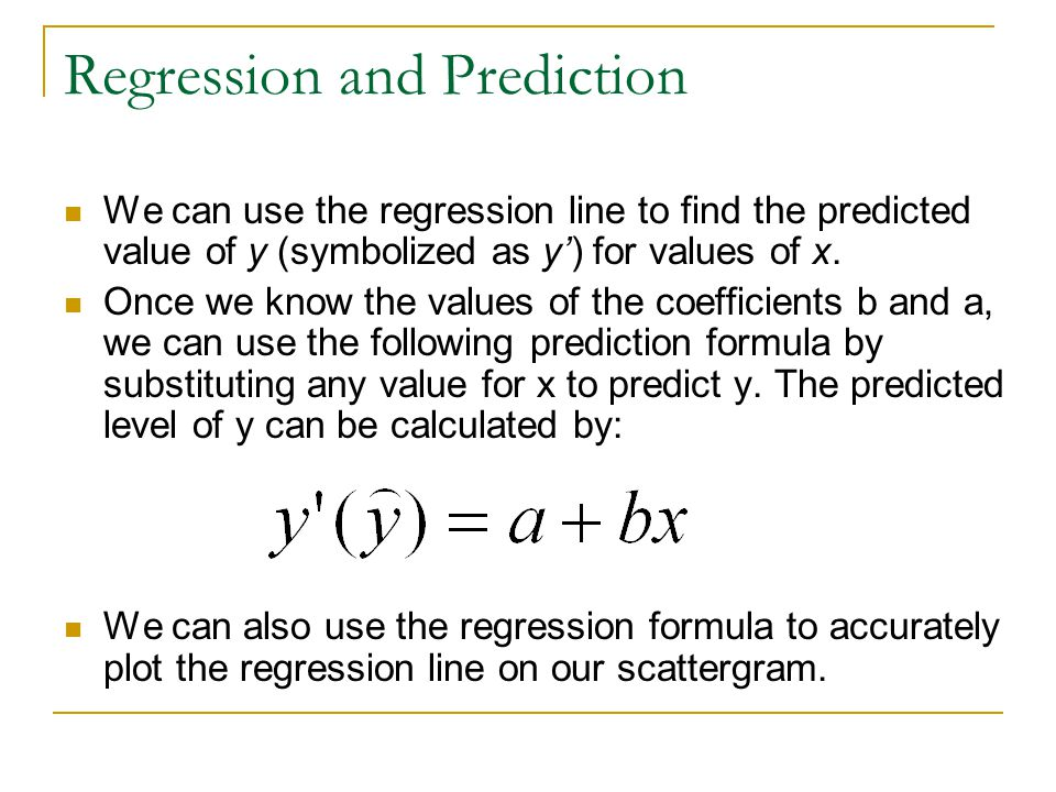 Regression and Prediction