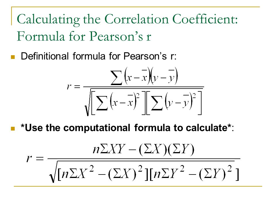 Calculating the Correlation Coefficient: Formula for Pearson's r