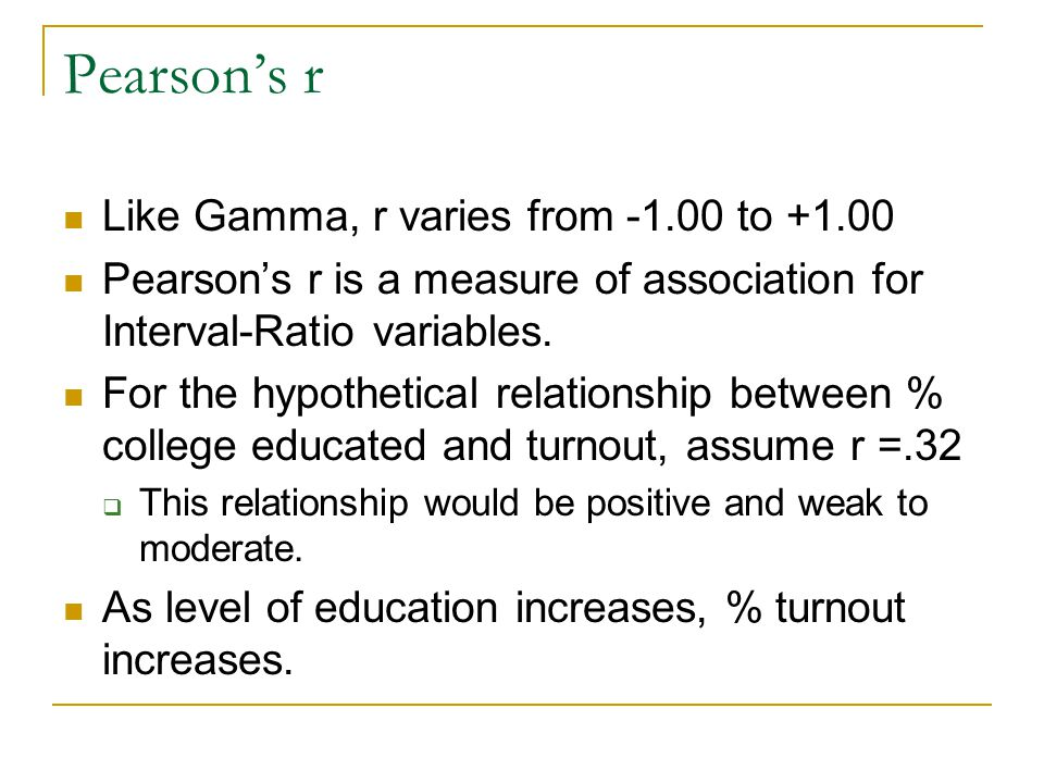 Pearson's r Like Gamma, r varies from to +1.00