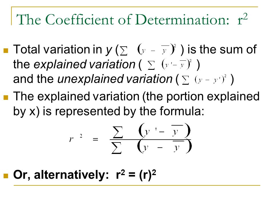The Coefficient of Determination: r2