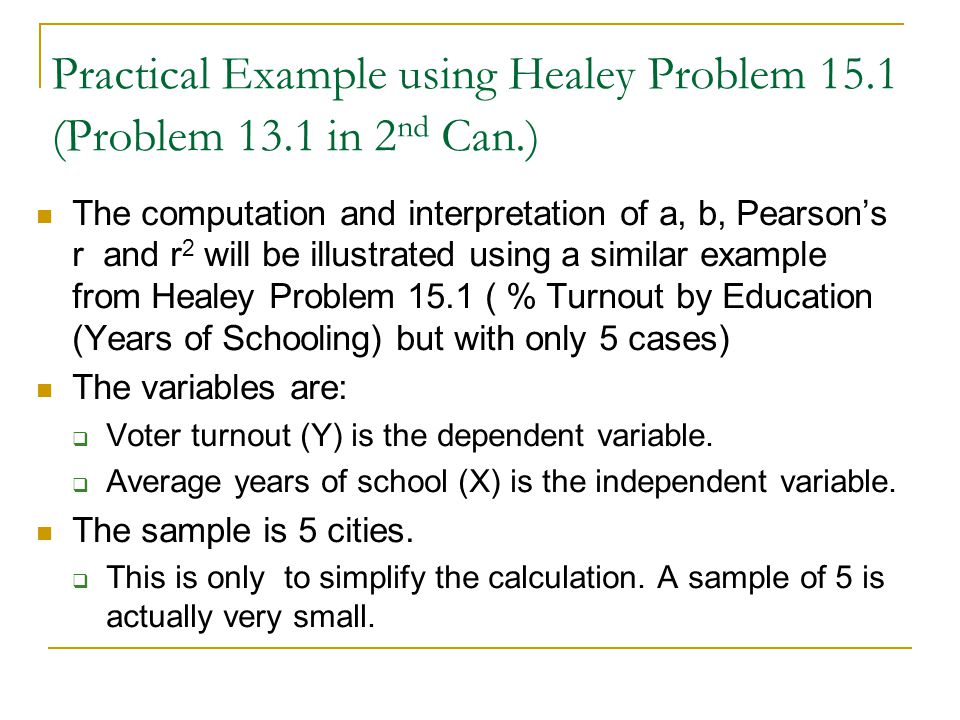 Practical Example using Healey Problem 15.1 (Problem 13.1 in 2nd Can.)