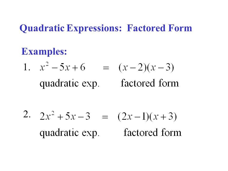 Quadratic Functions, Quadratic Expressions, Quadratic Equations ...