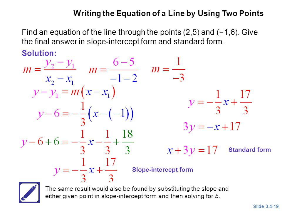 writing equations in standard form given two points The best videos and questions to learn about write an equation given two points get smarter on socratic socratic subjects science anatomy & physiology astronomy astrophysics how do you write an equation in standard form given (2, 2) and (6, 3.