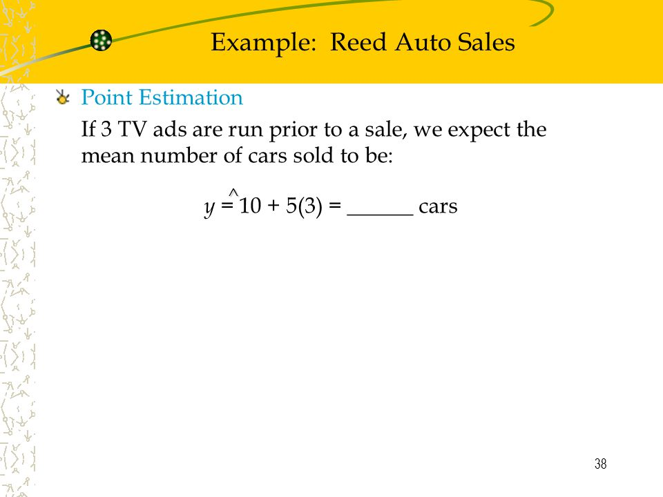Example: Reed Auto Sales