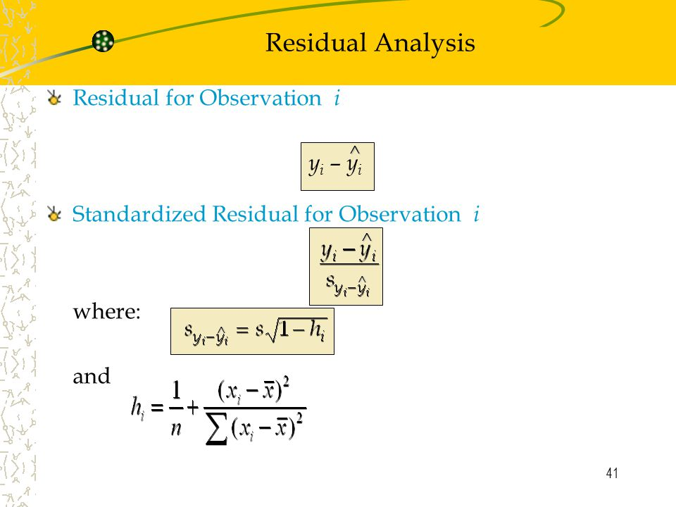 Residual Analysis Residual for Observation i yi – yi