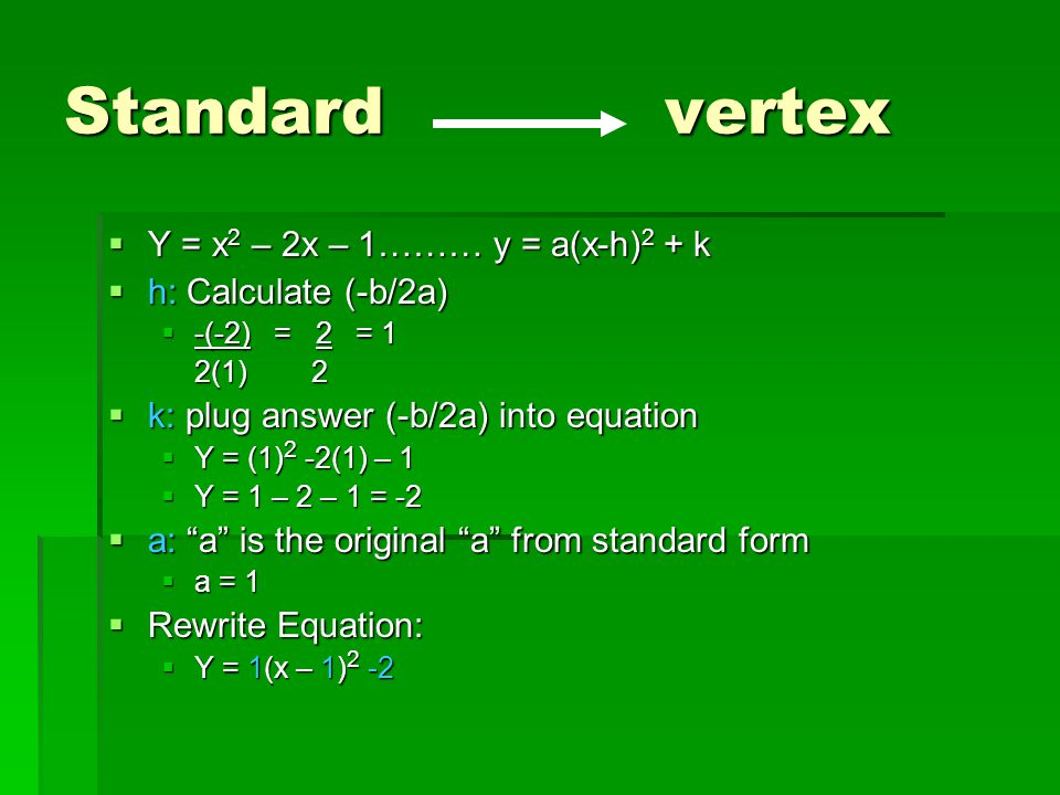 Intercept, Standard, and Vertex Form - ppt download