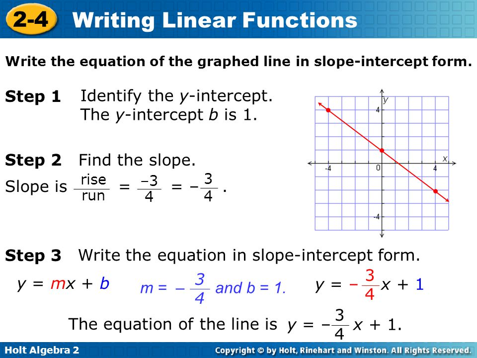linear function slope intercept form  How To Write A Function In A Slope Intercept Form