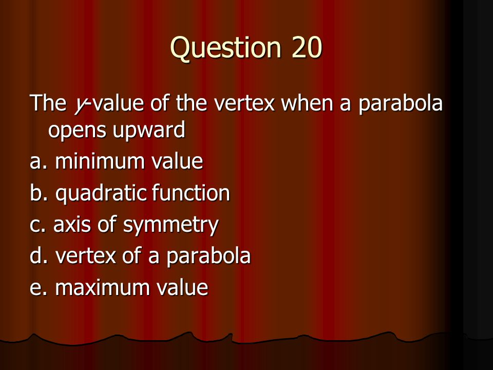 Question 20 The y-value of the vertex when a parabola opens upward