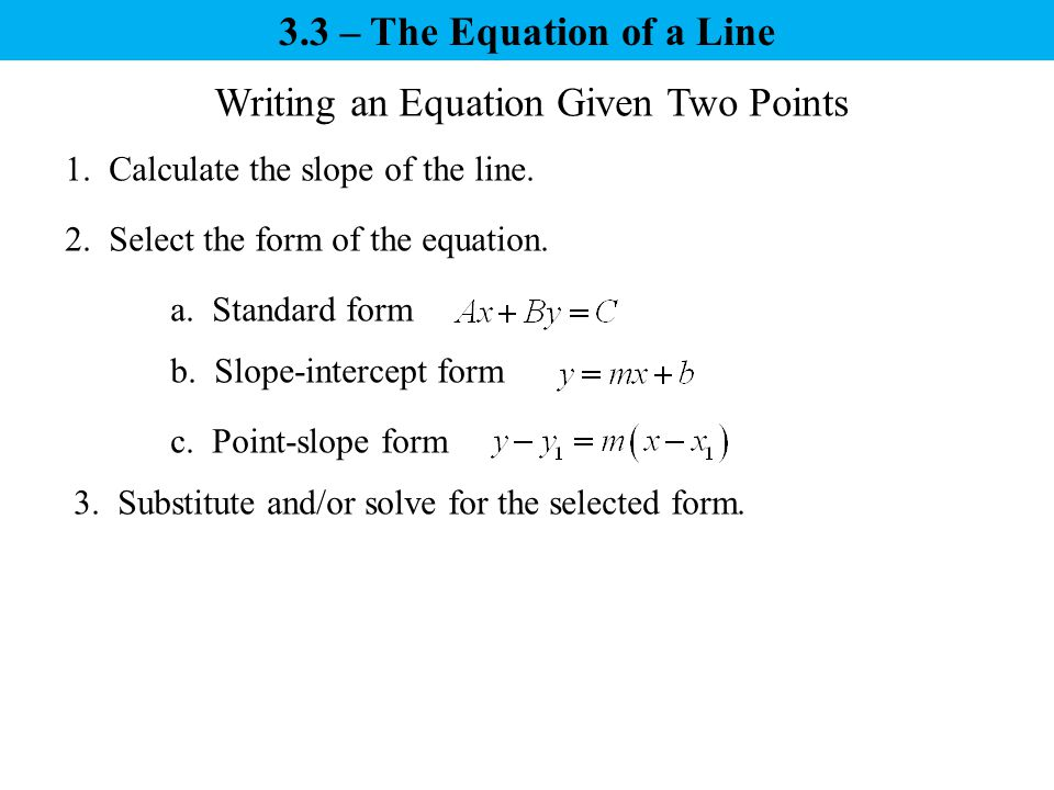 Write A Slope Intercept Equation From Two Points