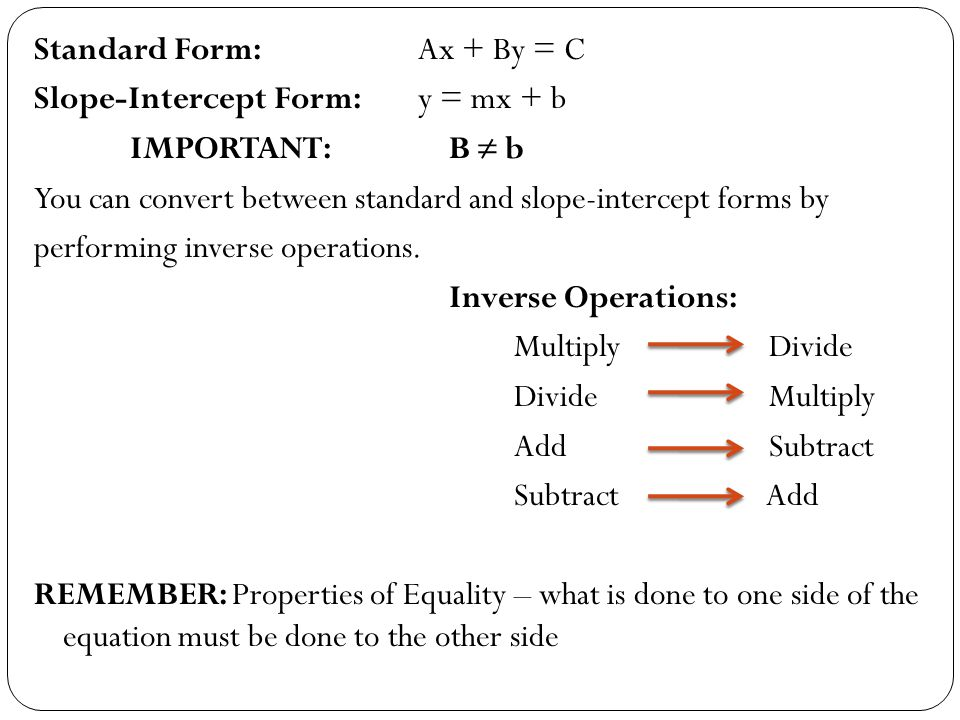 Standard and Slope-Intercept Forms - ppt download