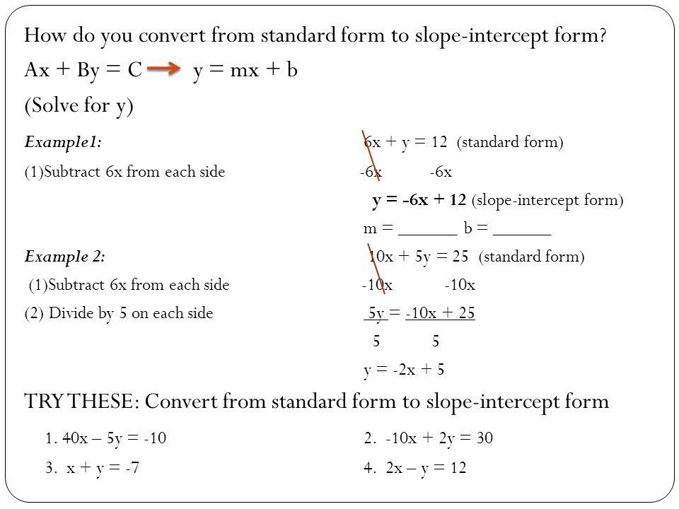 Standard Form To Intercept Form Mersnoforum