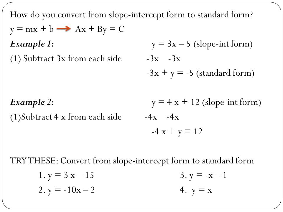 Standard and Slope-Intercept Forms - ppt download