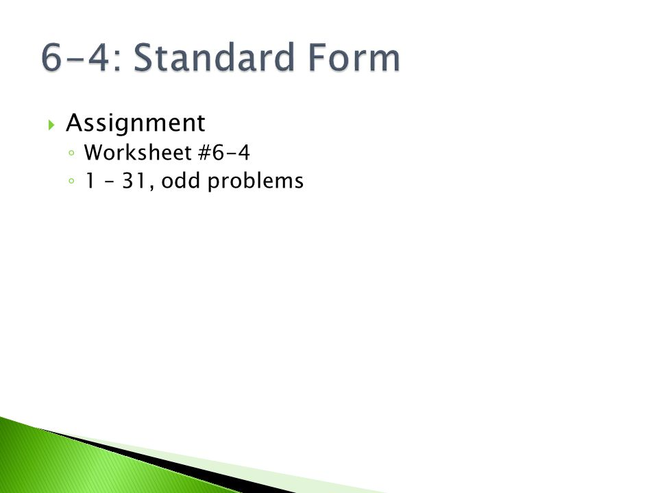 64 Standard Form Essential Question How do we convert from y – Standard Form of a Line Worksheet