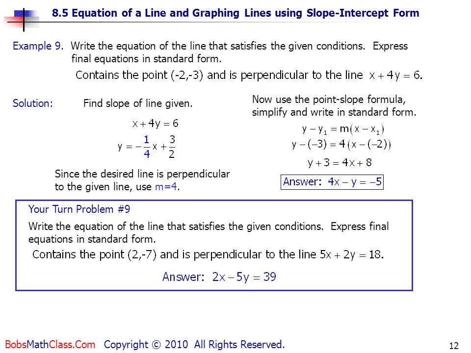 Write An Equation In Standard Form Given Slope Intercept Form