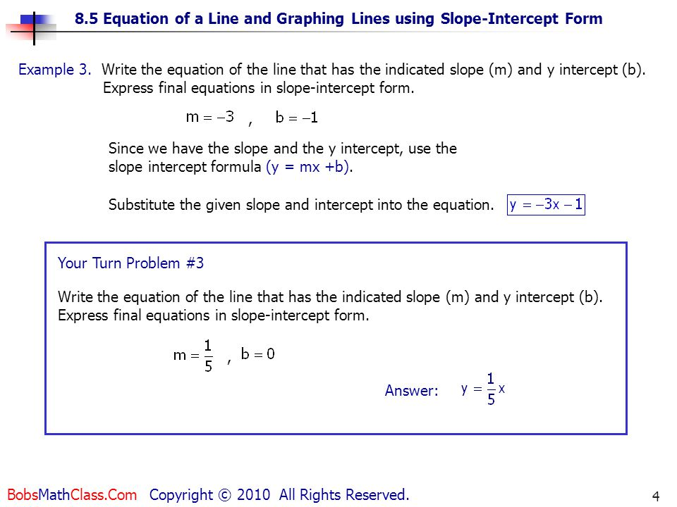 how to change slope form into standard