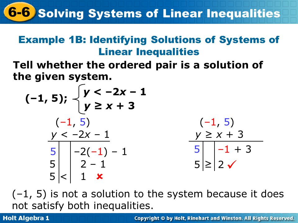 Example 1B: Identifying Solutions of Systems of Linear Inequalities