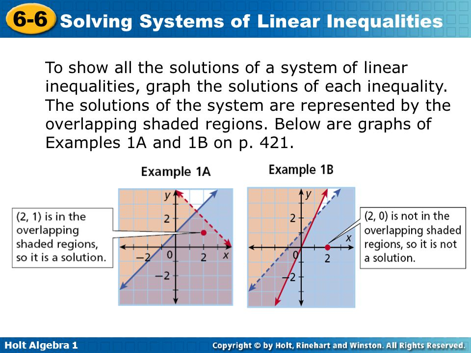 To show all the solutions of a system of linear inequalities, graph the solutions of each inequality.